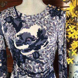 Tory Burch Cory Blue Floral Silk Jersey Dress Sz M